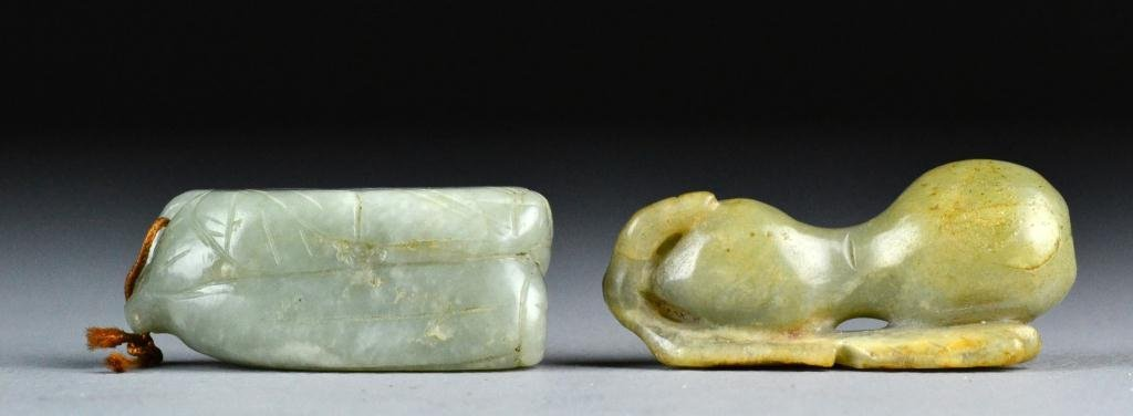 13: (2) Chinese Qing Celedon Nephrite Pendants