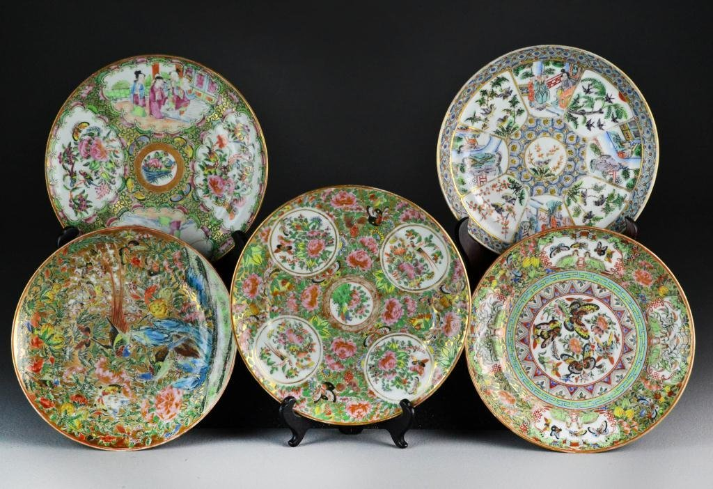 21: (5) Chinese Republic Famille Rose Porcelain Plates