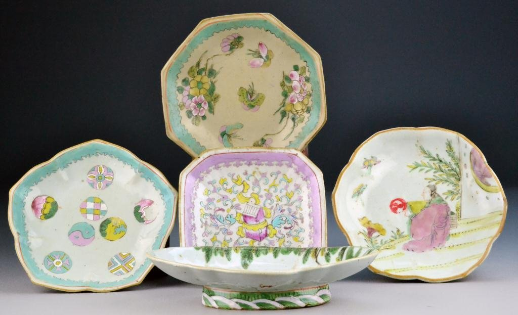 504: (5) Chinese Stoneware Enameled Dishes