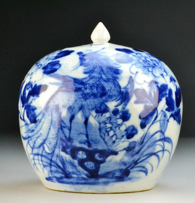 512: Chinese Qing Blue And White Porcelain Jar
