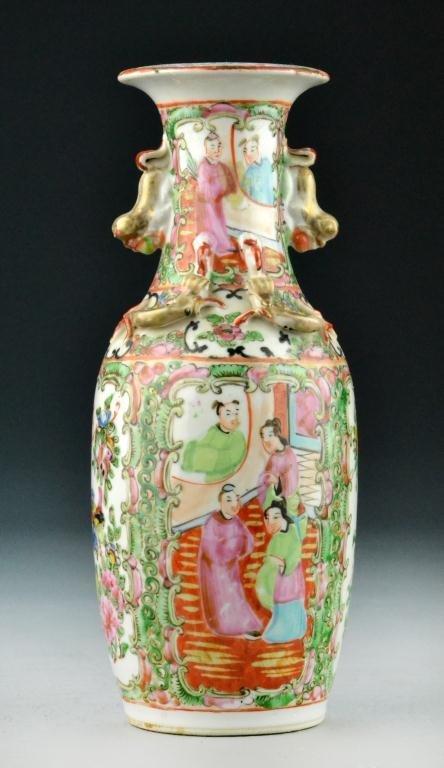 518: Chinese Rose Medallion Porcelain Export Vase
