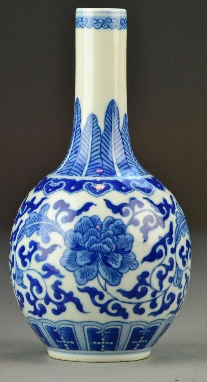 522: Chinese Republic Blue & White Porcelain Long Neck