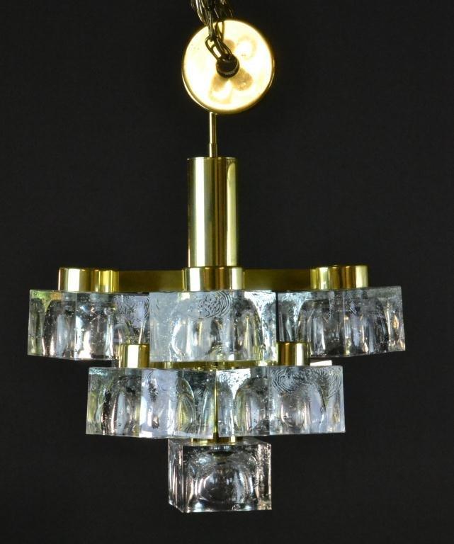 4: Gaetano Sciolari Att. 8-Light Cube Brass Chandelier