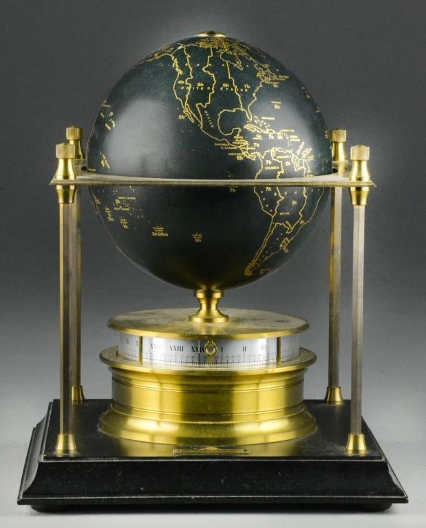 16: Brass Royal Geographical Society Globe Clock
