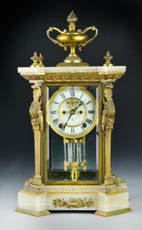 17: Antique Ansonia Gilt, Bronze & Onyx Mantle Clock