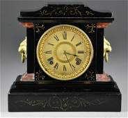 18 Ansonia Black Metal Case Mantle Clock