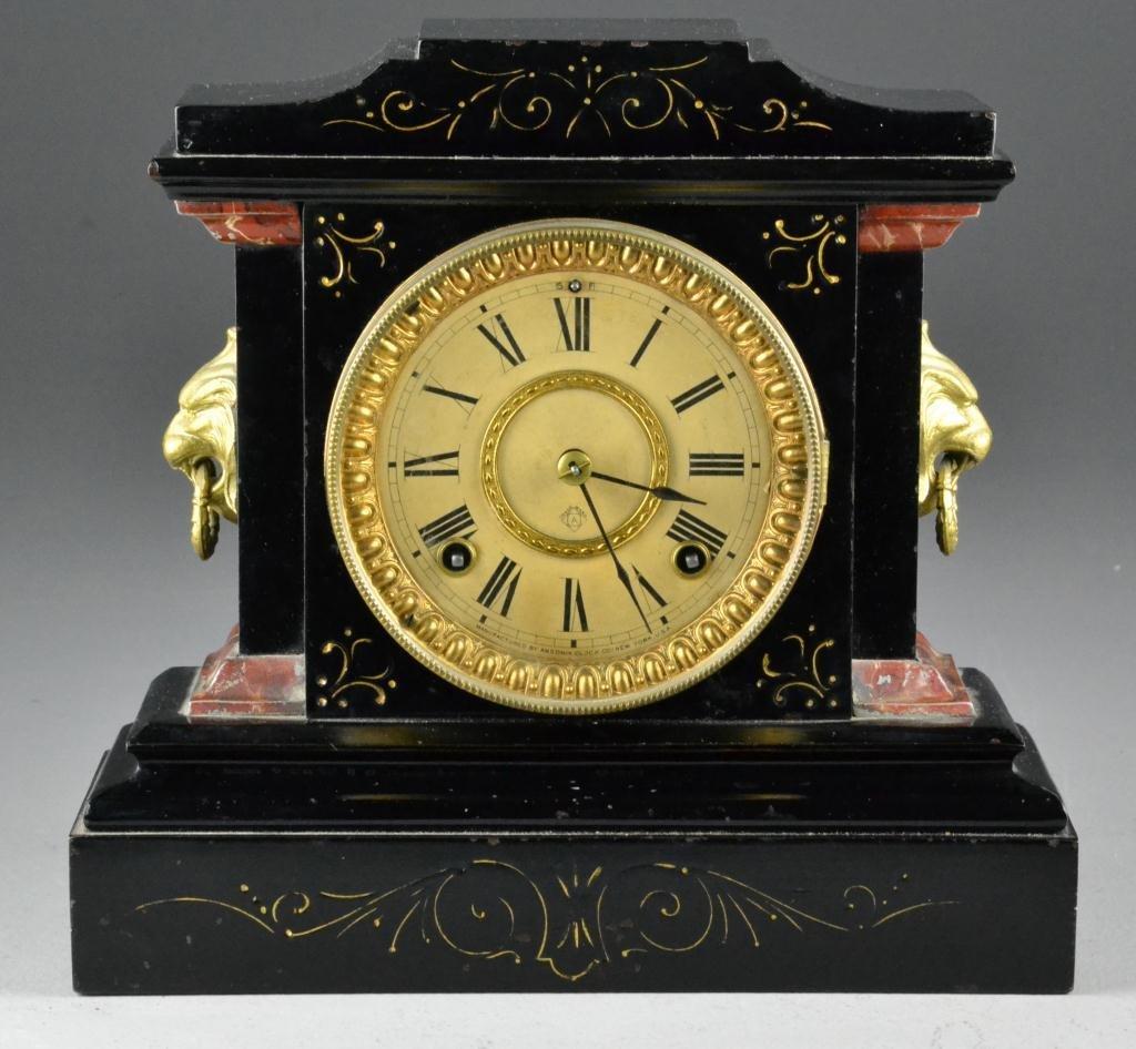 18: Ansonia Black Metal Case Mantle Clock