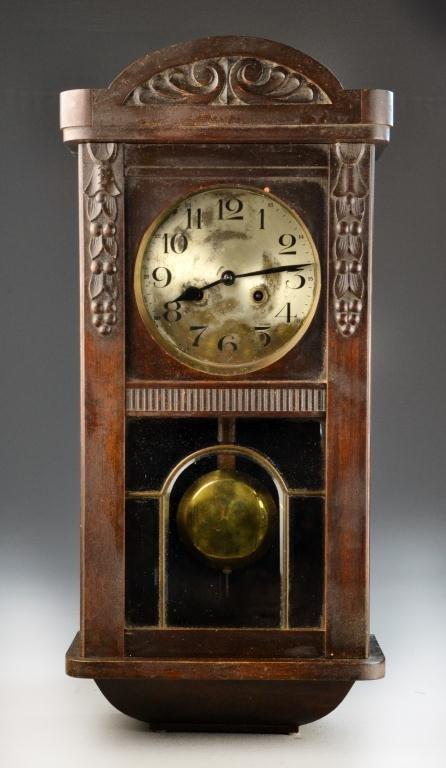22: Antique German Pendulum Wall Clock