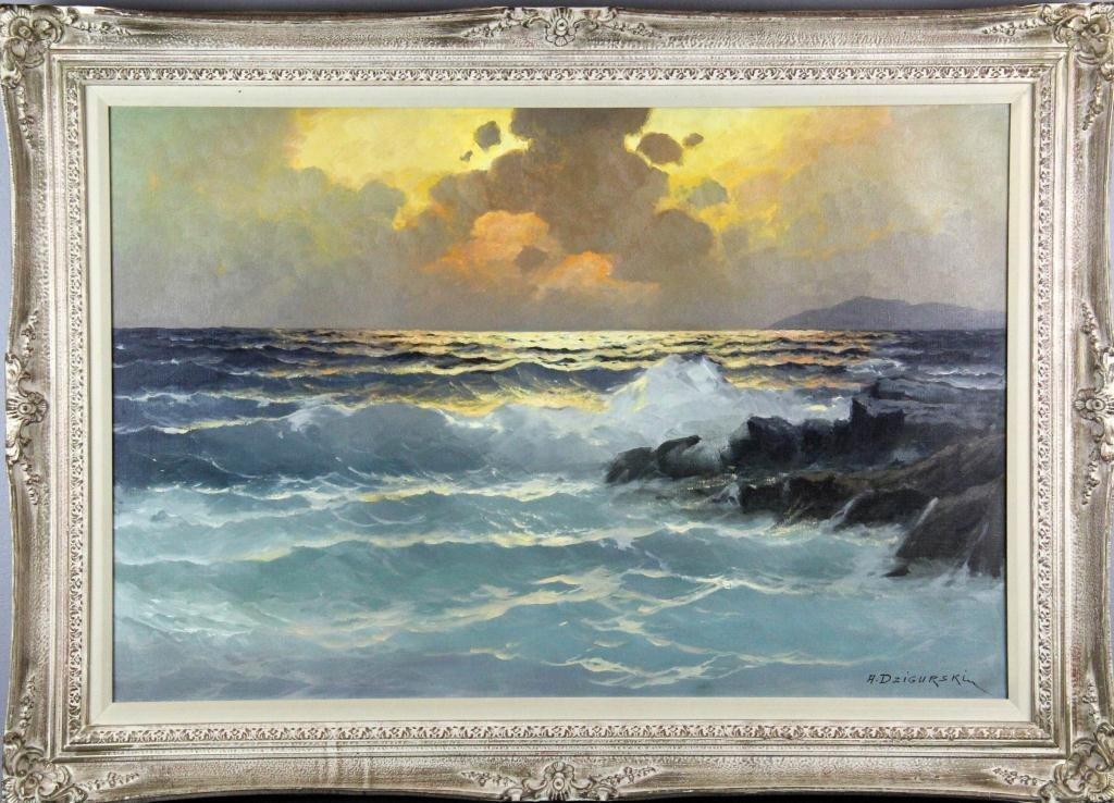 261: Alexander Dzigurski Oil Painting On Canvas