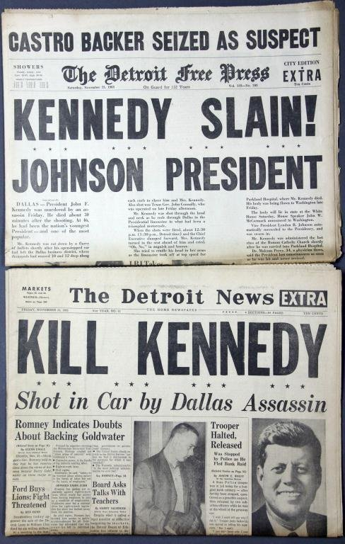 "(2) ""Kill Kennedy"" Detroit Newspaper Headline"