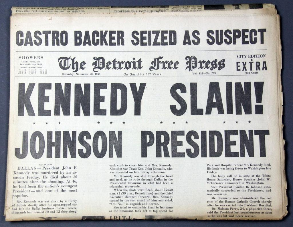 "(2) ""Kill Kennedy"" Detroit Newspaper Headline - 2"