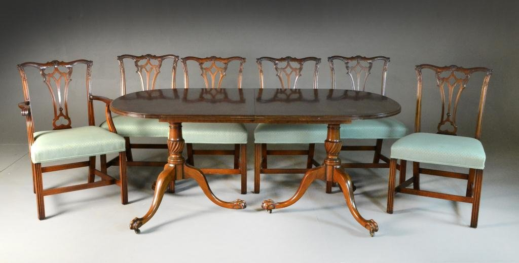 (7) Chippendale Style Mahogany Dining Set
