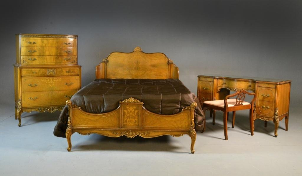 (6) French Provincial Pecan Carved Bedroom Suite