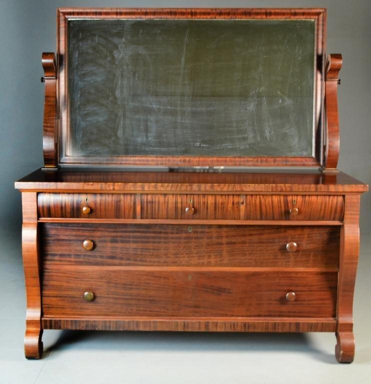 Mahogany Empire Dresser & Mirror