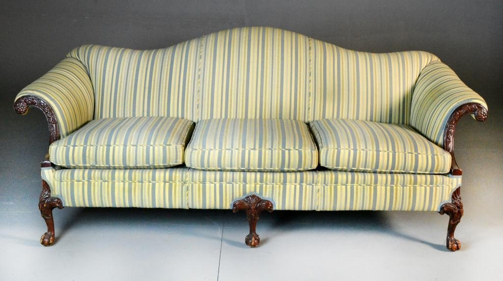 Chippendale Carved Walnut Upholstered Sofa