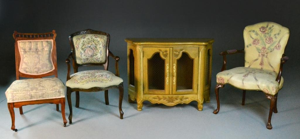 (4) Antique Cabinet & Three Victorian Side Chairs