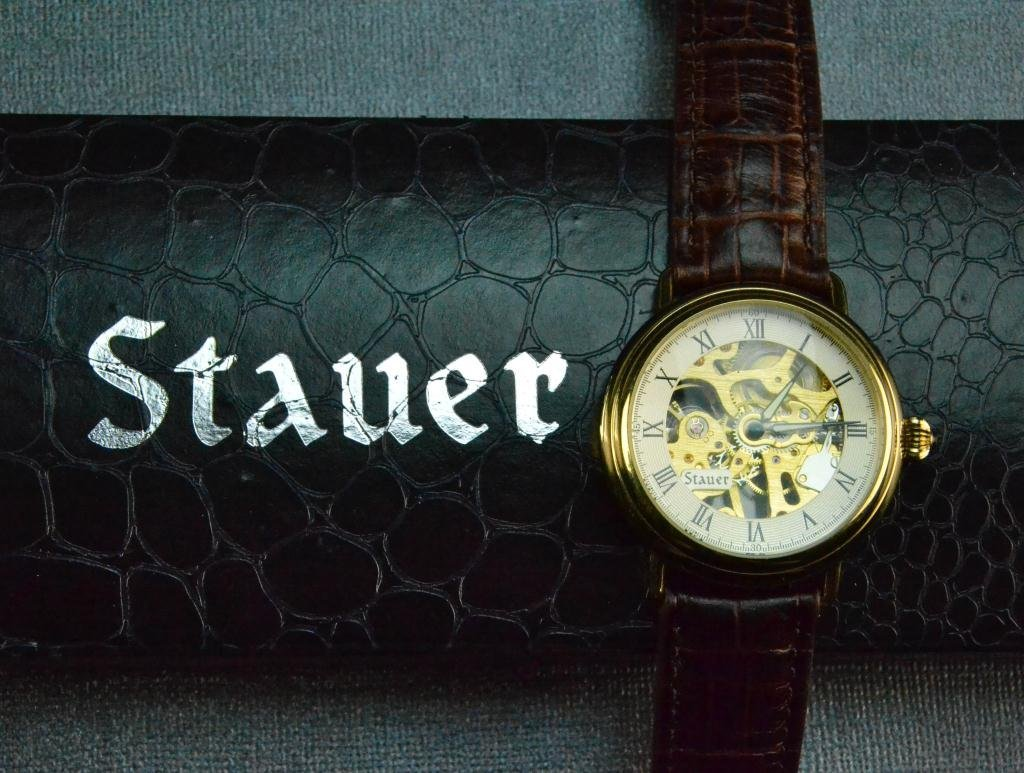 Stauer Mens Skeleton Watch with Box and Papers