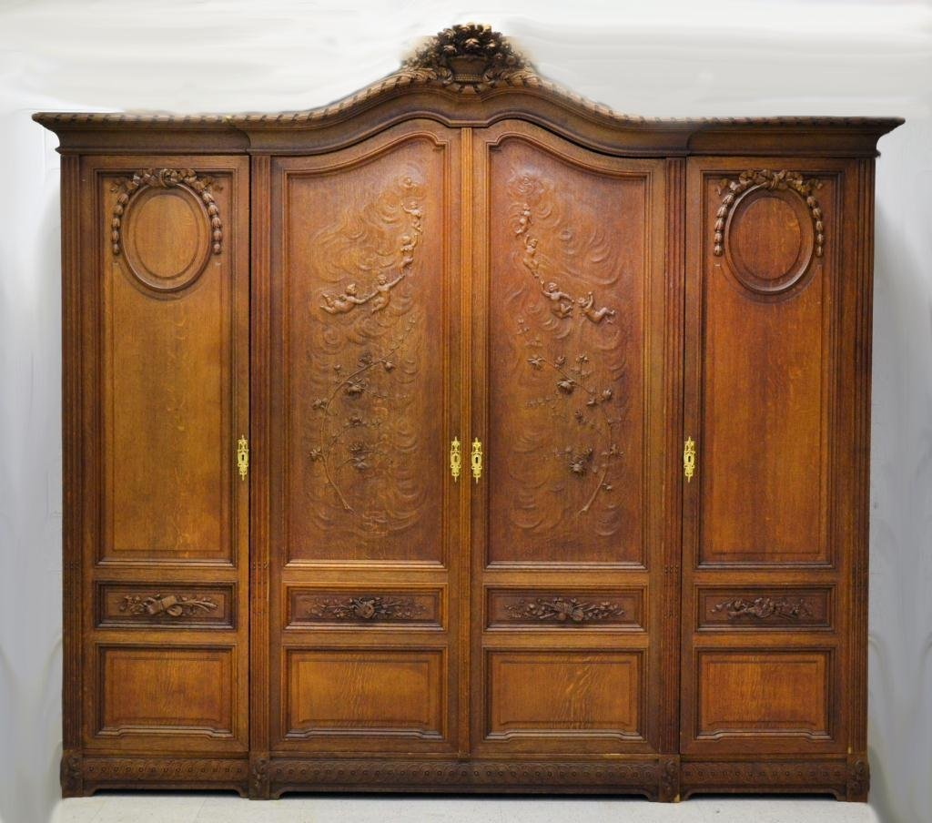 Impressive French Carved Oak Armoire