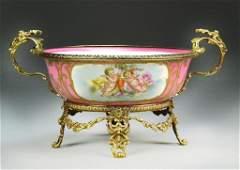 French Sevres Porcelain Bowl in Brass Mounts