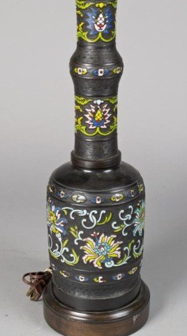 Japanese Bronze and Enamel Lamp