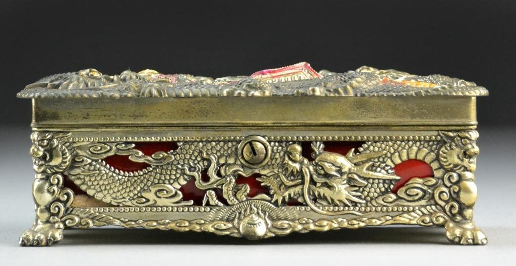 Japanese Polychrome Painted Silvered Box