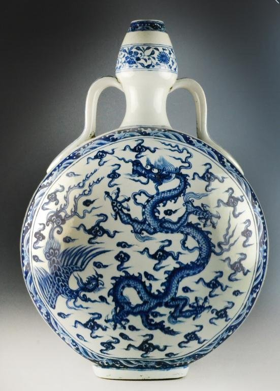 Large & Impressive Chinese Blue & White Moonflask