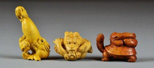 (3) Fine Japanese Carved Boxwood Netsuke
