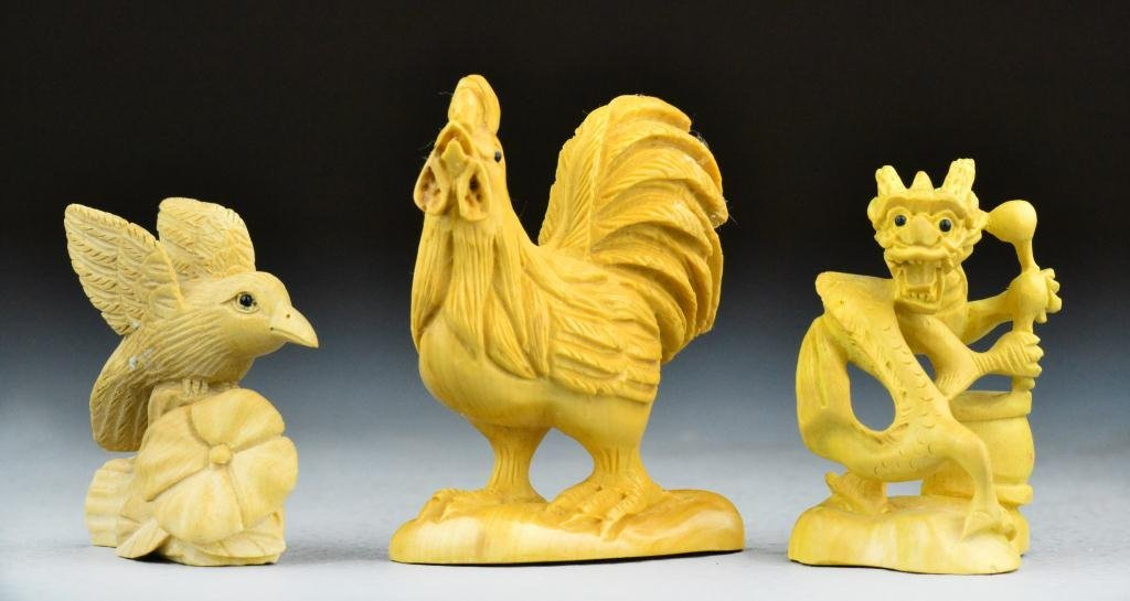 (3) Japanese Meji Period Wood Carvings Inc. Netsuke