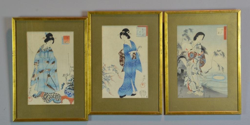 (3) Toyohara Chikanobu Woodblock Prints