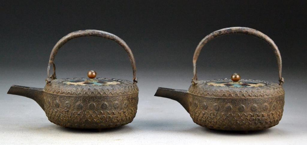 Pr. Japanese Antique Iron Tea Pots