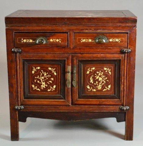Chinese Inlaid Hardwood Cabinet