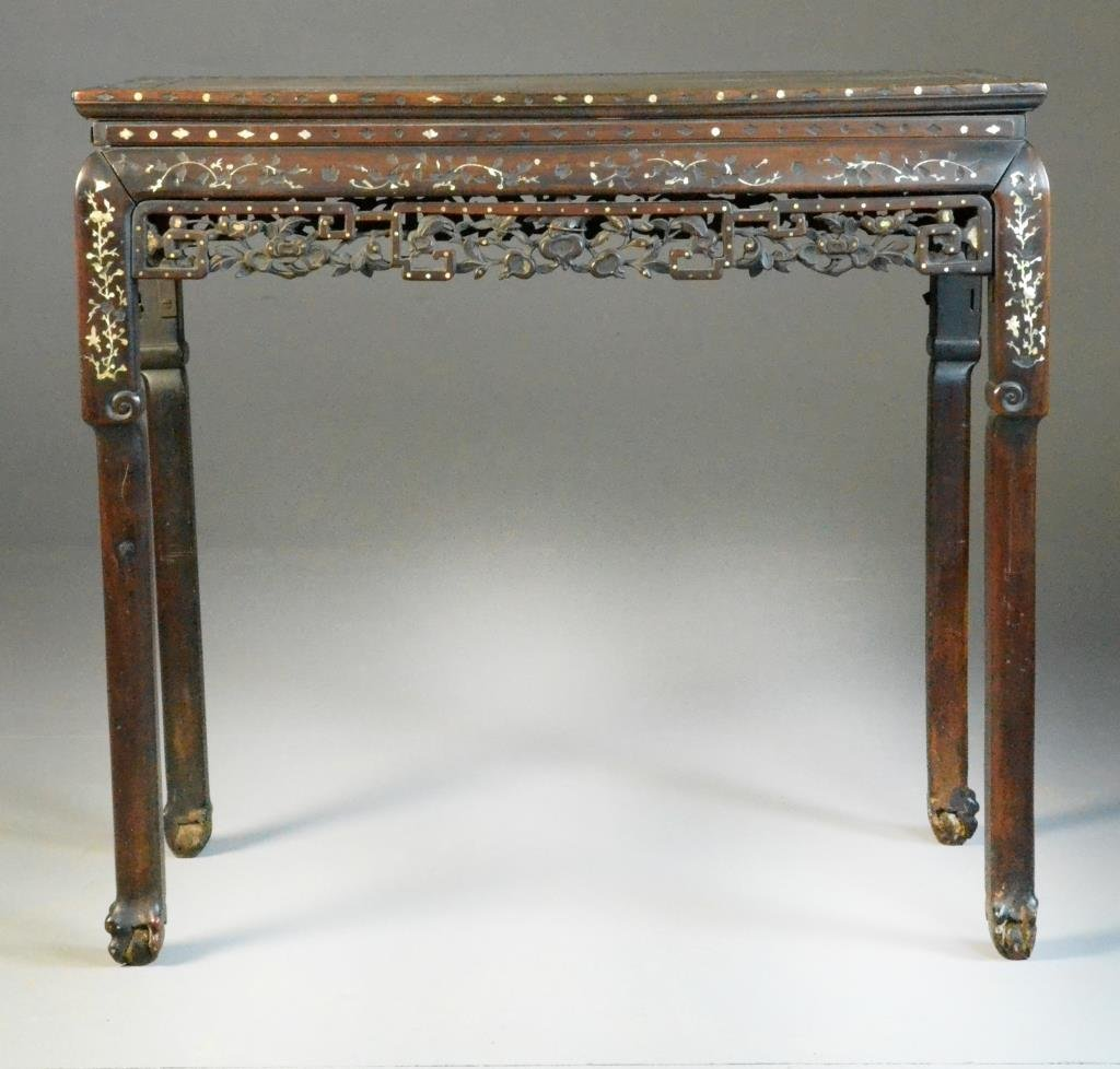 Chinese MOP Inlaid Rosewood Alter Table