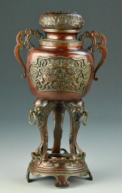 Japanese Bronze Tripod Censer-Meiji