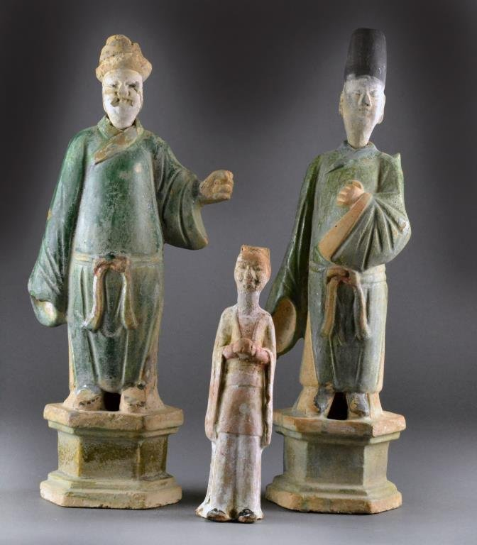 (3) Chinese Ming Style Pottery Figures
