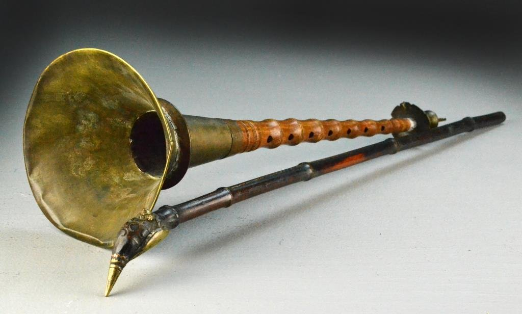 (2) Pcs. Chinese Qing Bamboo & Brass Pipe & Horn