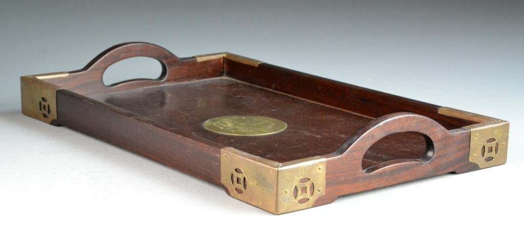 Chinese Rosewood & Brass Tray