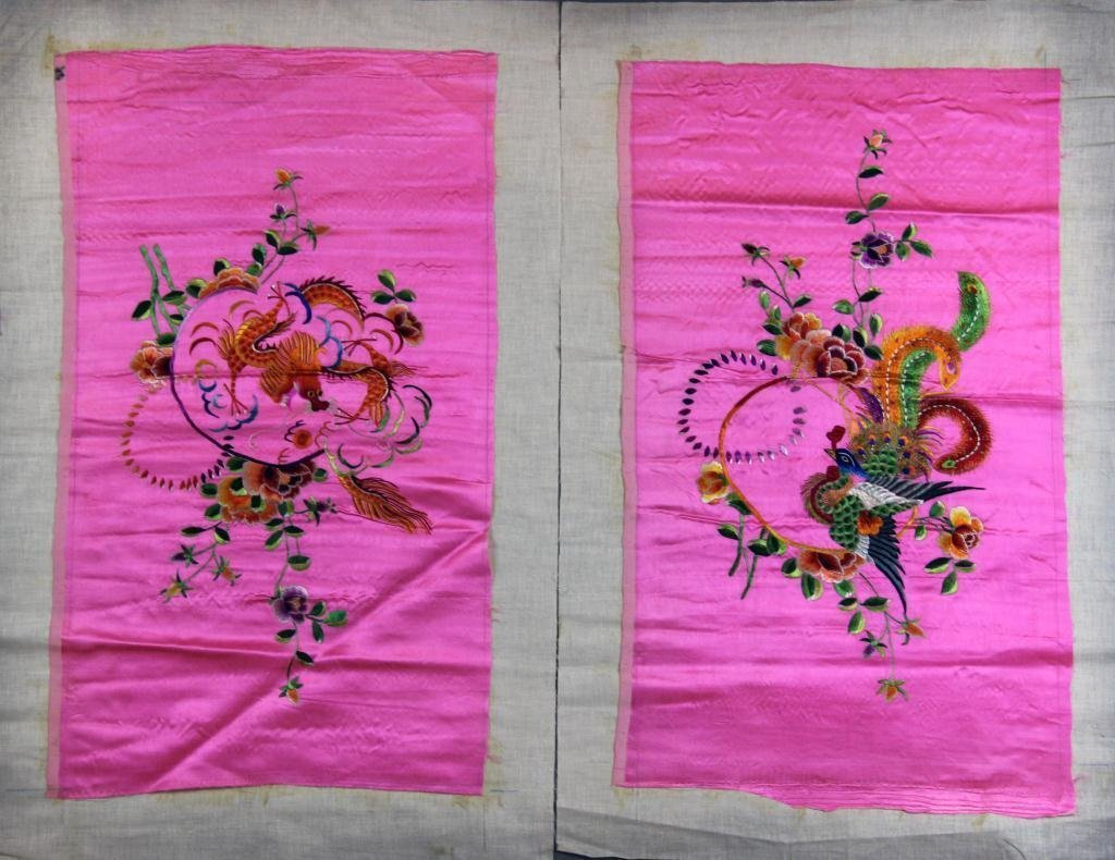 (2) Chinese Qing Silk Embroidery