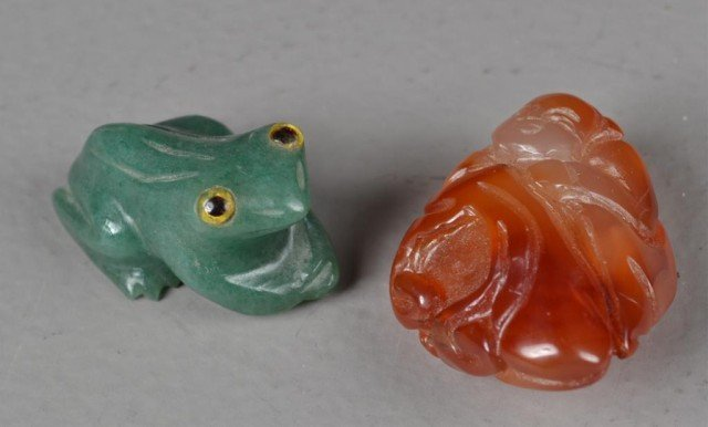 (2) Pcs. Chinese Carved Jade And Agate