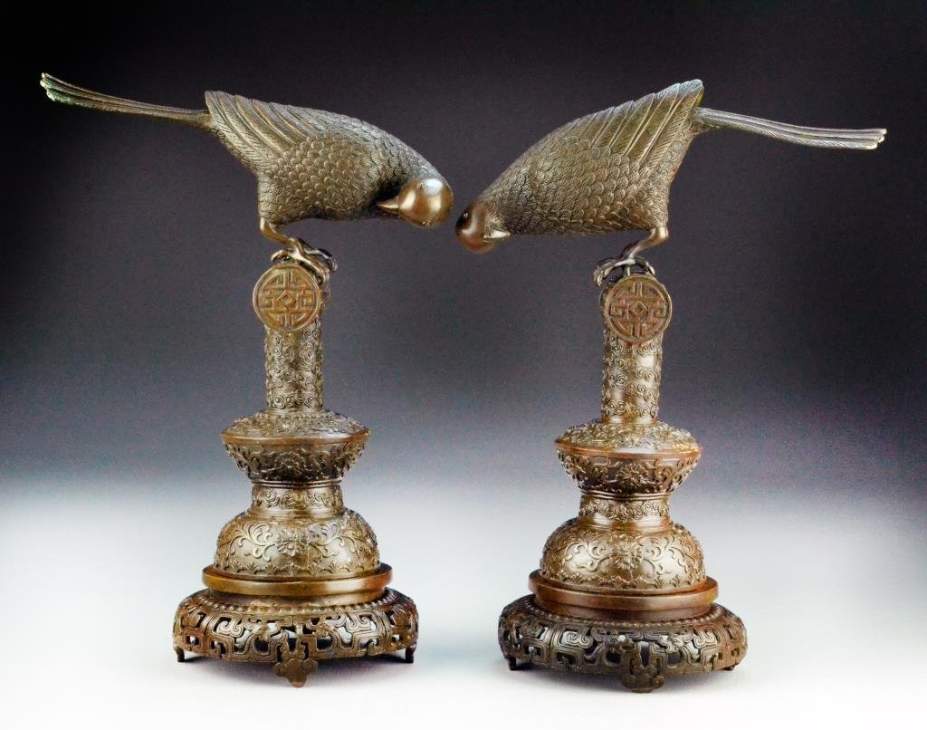 Pr. Chinese Imperial Style Bronze Parrots