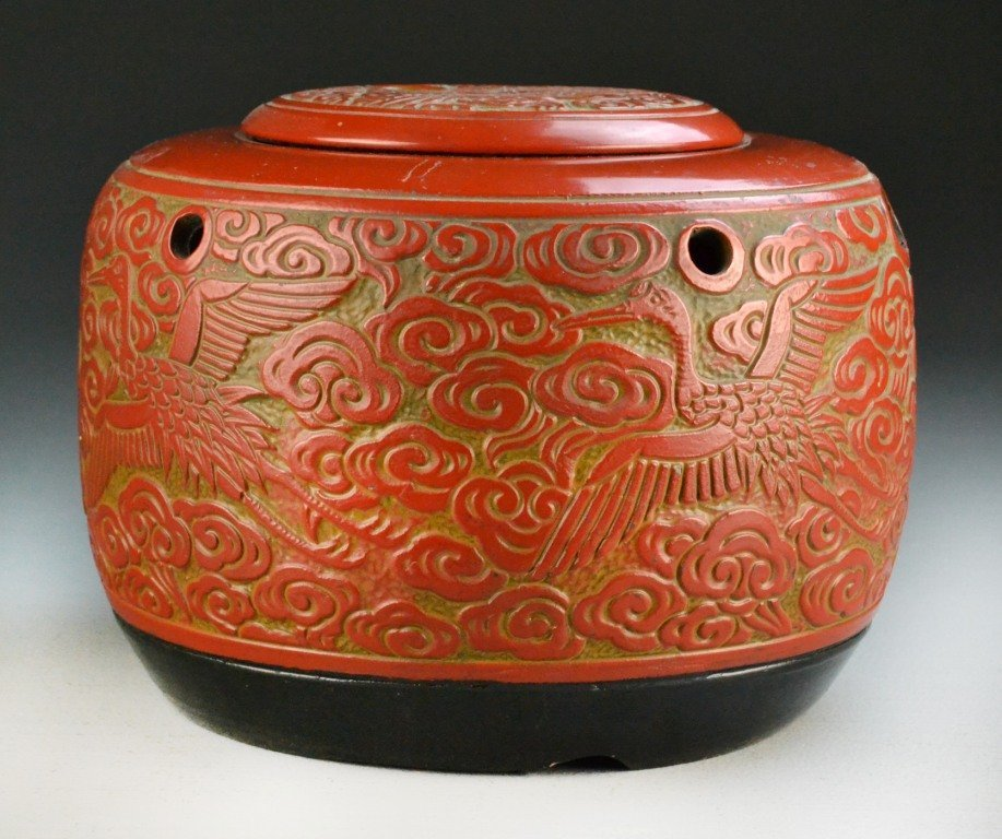Chinese Carved Hibachi Pottery w/ Lid