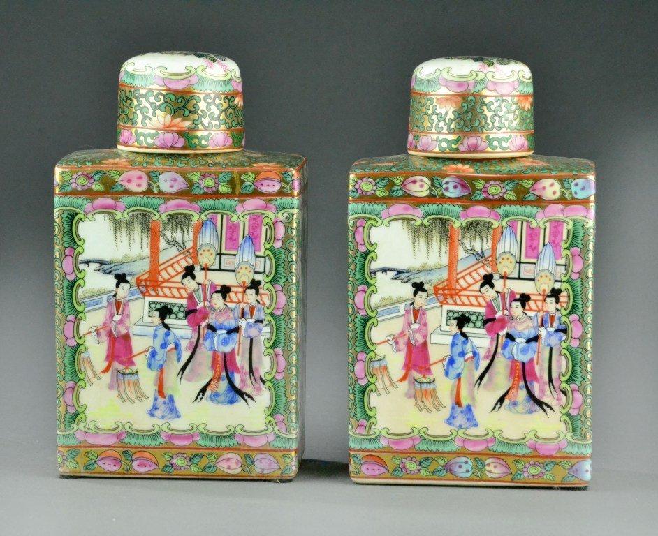 Pr. Chinese Famille Rose Porcelain Tea Caddies