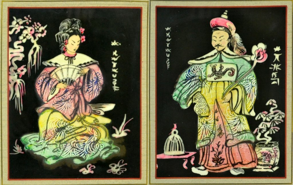 Pr. Chinese Watercolor Paintings on Silk