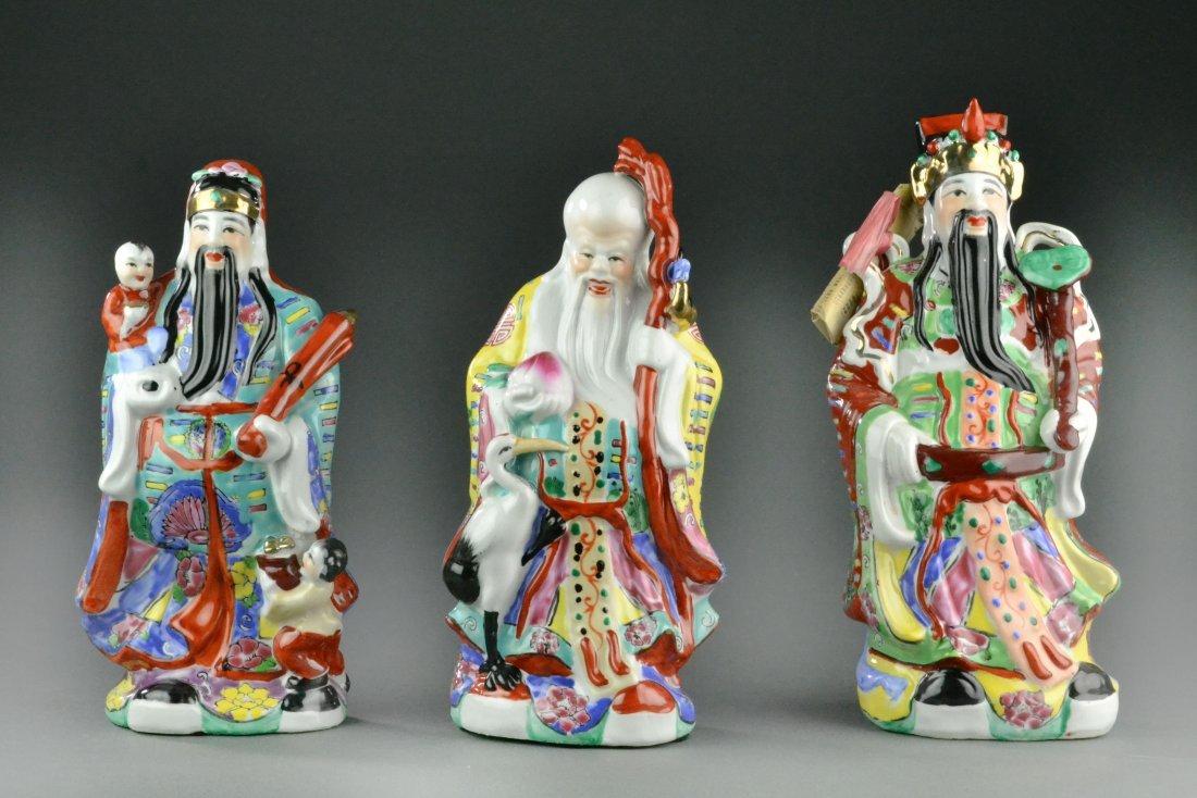 (3) Chinese Famille Rose Porcelain Gods