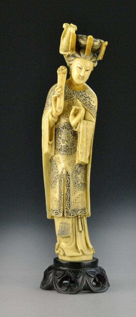 Carved Chinese Lady on Carved Wood Stand