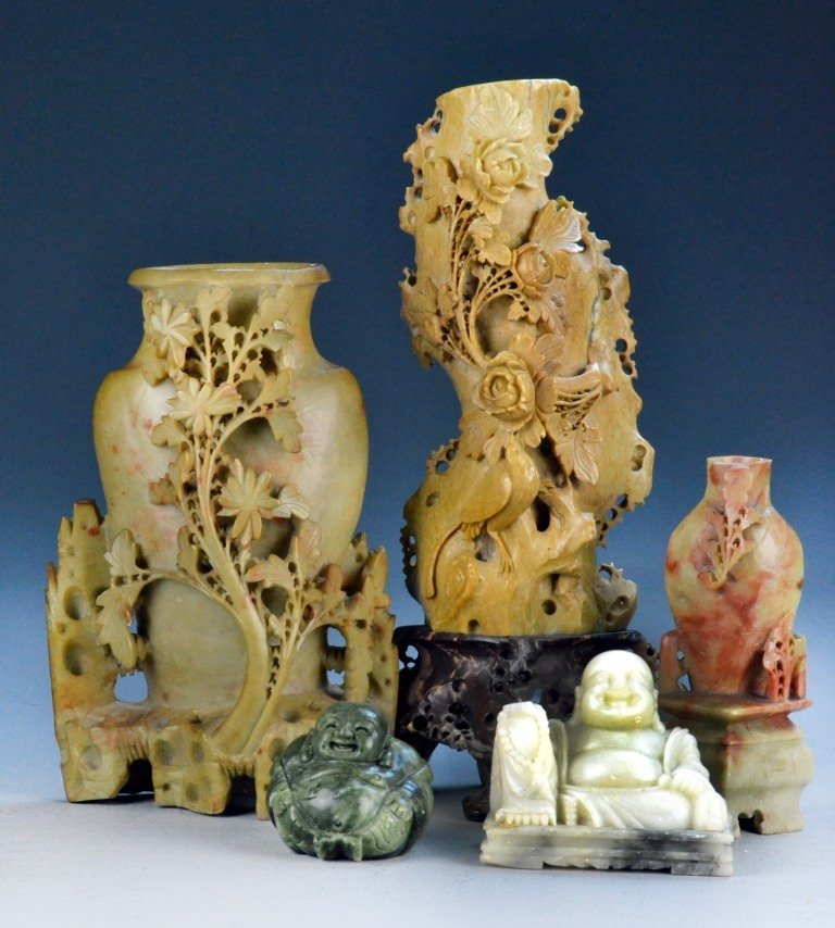 (5) Pcs. Soapstone and Hardstone Carvings