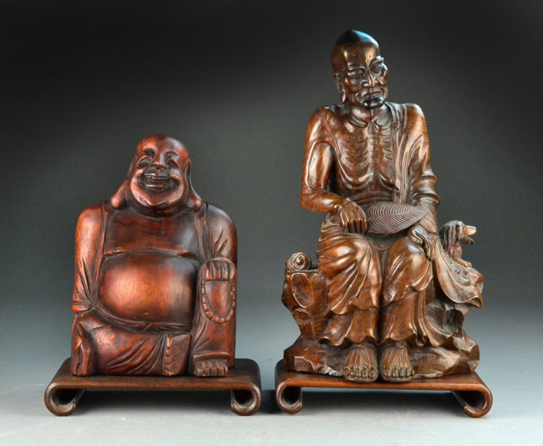(2) Carved Chinese Wooden Figures