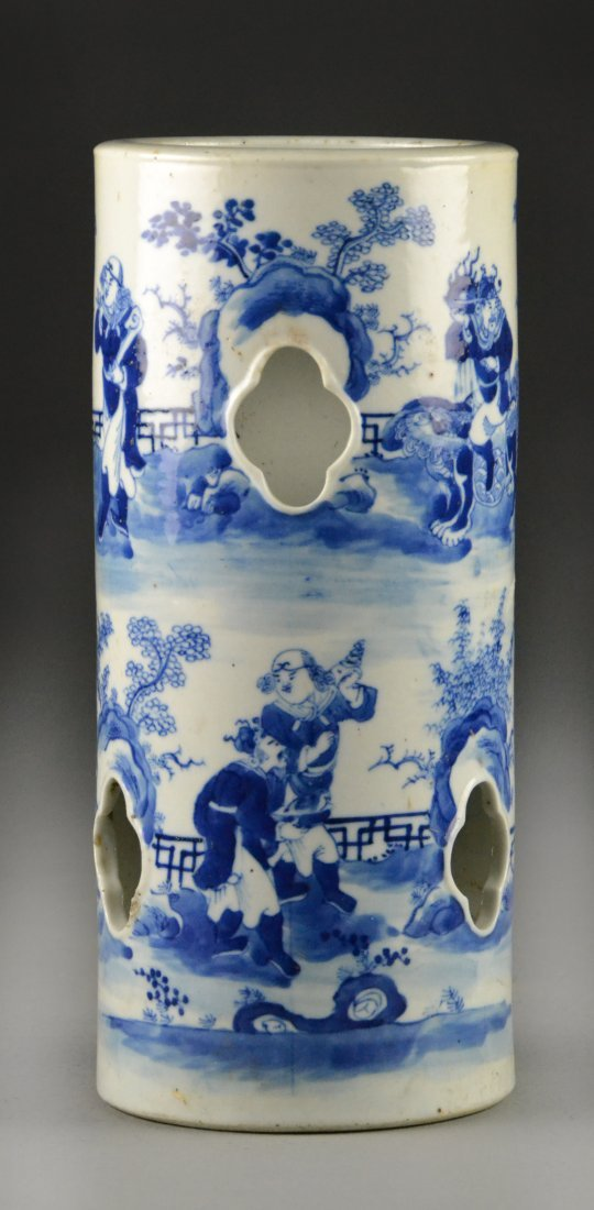 Chinese Qing Blue & White Porcelain Hat stand