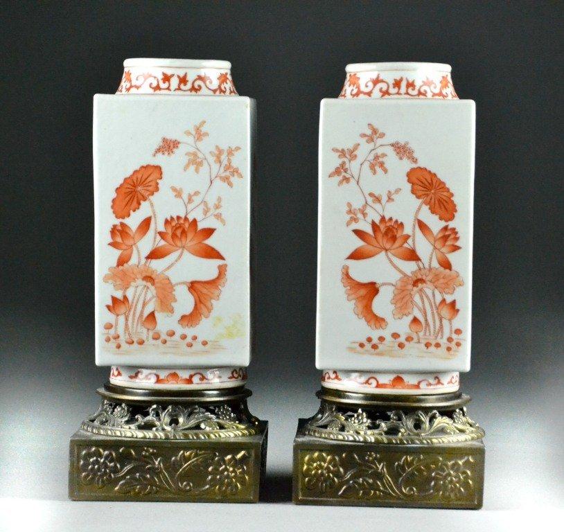 Pr. Chinese Iron Red & White Porcelain Vases
