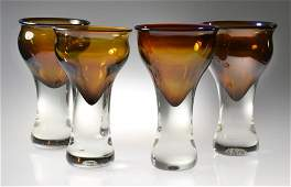 4 R Stewart Art Glass Drinking Vessels