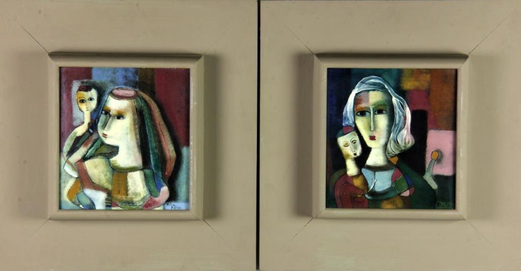 Pr. Polia Pillin Oil Paintings On Porcelain